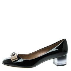 Salvatore Ferragamo Black Patent Leather Fiammetta Block Heel Pumps Size 41
