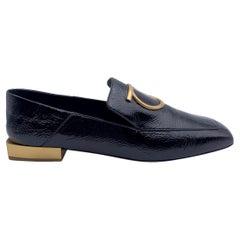 Salvatore Ferragamo Black Patent Leather Lana Loafers Size 7C 37.5 C