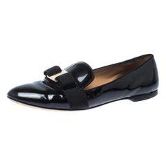Salvatore Ferragamo Black Patent Leather Loafers Size 38