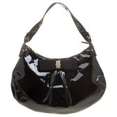 Salvatore Ferragamo Black Patent Leather Miss Vara Hobo