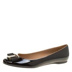 Salvatore Ferragamo Black Patent Leather Ninna Stripes Ballet Flats Size 40.5