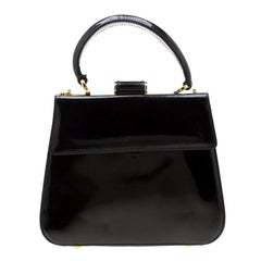 Salvatore Ferragamo Black Patent Leather Tote