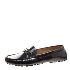 Salvatore Ferragamo Black Patent Pebbled Leather Saba Loafers Size 41.5