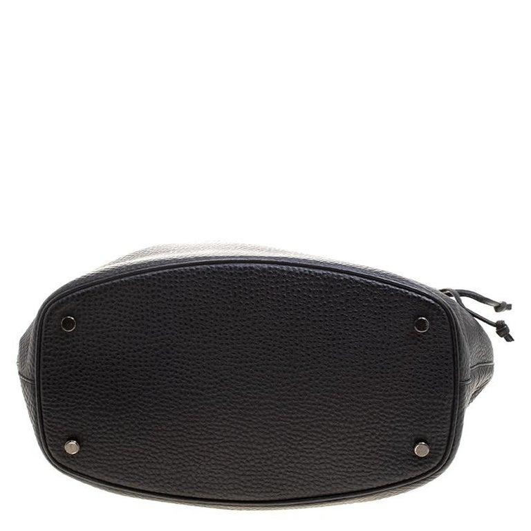 Salvatore Ferragamo Black Pebbled Leather Drawstring Hobo For Sale ... cf979b3efb35a