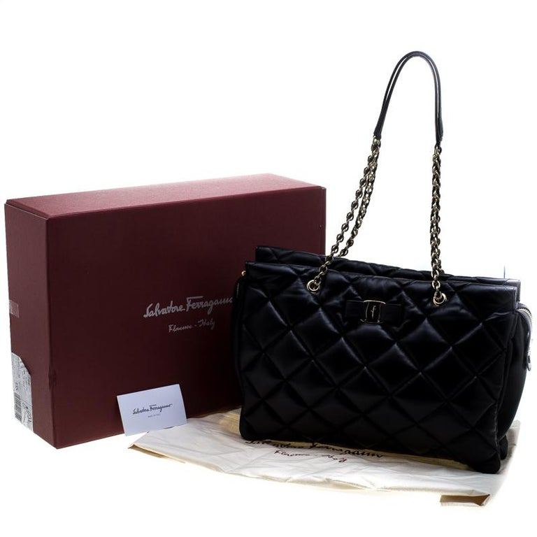 83956302f5a4 Salvatore Ferragamo Black Quilted Leather Ginette Chain Shoulder Bag For  Sale 8