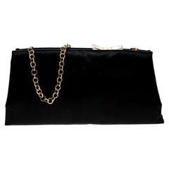 Salvatore Ferragamo Black Satin Clutch