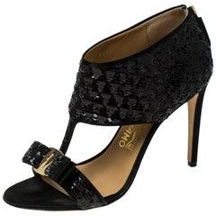 Salvatore Ferragamo Black Sequins and Satin Vara Bow Sandals Size 38.5