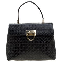 Salvatore Ferragamo Black Signature Embossed Leather Gancini Satchel