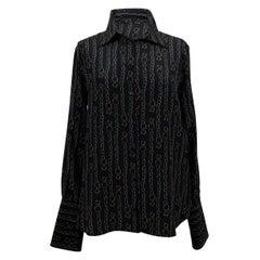 Salvatore Ferragamo Black Silk Catene Print Shirt Size 42 IT