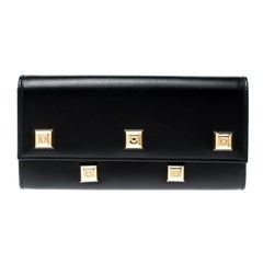 Salvatore Ferragamo Black Studded Leather Continental Wallet