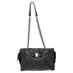 Salvatore Ferragamo Black Studded Leather Ginette Shoulder Bag