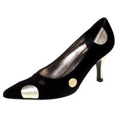 Salvatore Ferragamo Black Suede And Metallic Gold Circle Pointed Toe Size 36.5