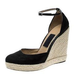 Salvatore Ferragamo Black Suede Ankle Strap Espadrille Wedges Size 39.5