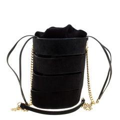 Salvatore Ferragamo Black Suede Cocktail Bucket Bag