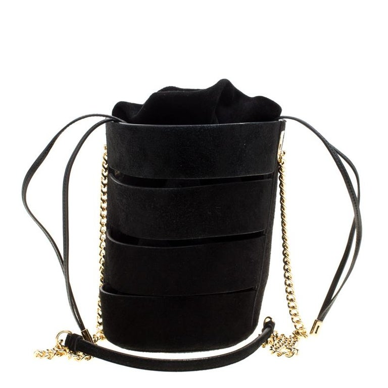 e38b5161a1 Salvatore Ferragamo Black Suede Cocktail Bucket Bag For Sale at 1stdibs