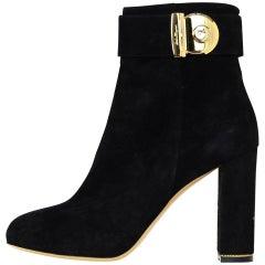 Salvatore Ferragamo Black Suede Heeled Boots W/ Gold Buckle Sz 8.5