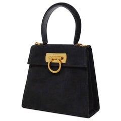 Salvatore Ferragamo Black Suede Kelly Style Vintage Handbag