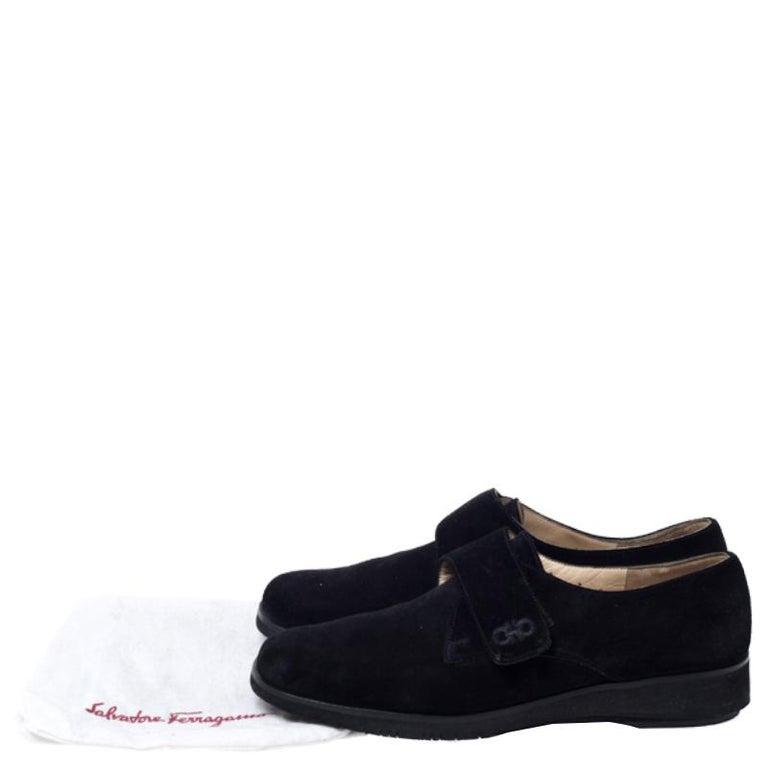 Salvatore Ferragamo Black Suede Velcro Strap Flats Size 37.5 6