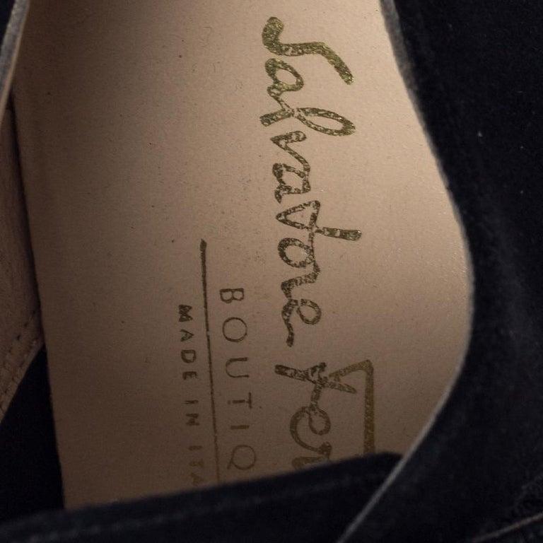 Salvatore Ferragamo Black Suede Velcro Strap Flats Size 37.5 1