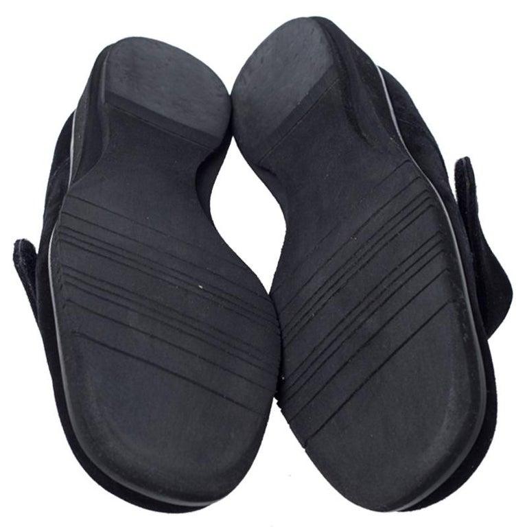 Salvatore Ferragamo Black Suede Velcro Strap Flats Size 37.5 2