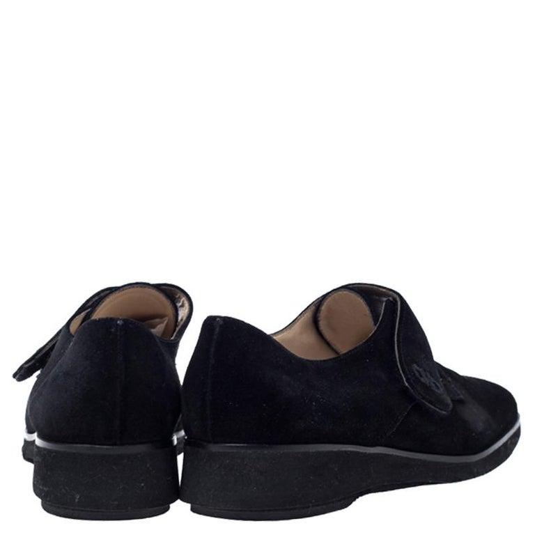 Salvatore Ferragamo Black Suede Velcro Strap Flats Size 37.5 3