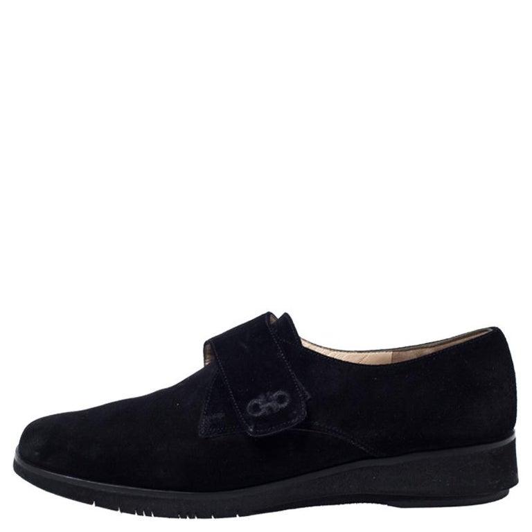 Salvatore Ferragamo Black Suede Velcro Strap Flats Size 37.5 4