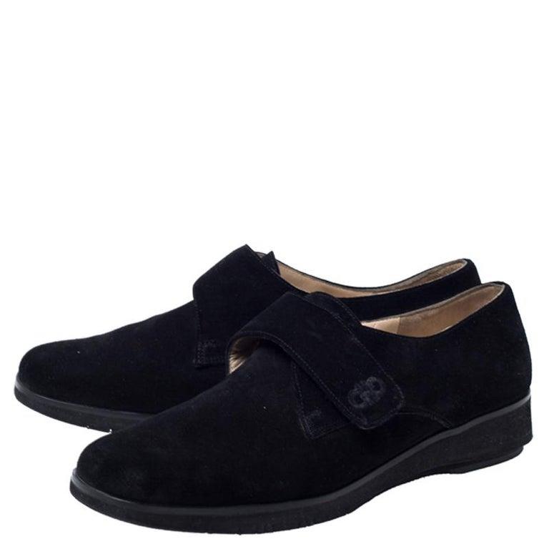 Salvatore Ferragamo Black Suede Velcro Strap Flats Size 37.5 5