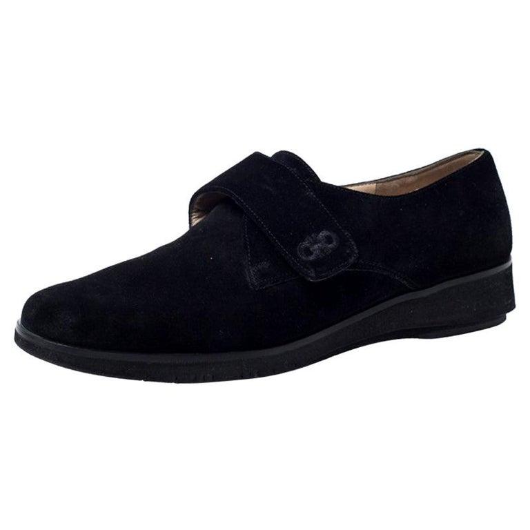 Salvatore Ferragamo Black Suede Velcro Strap Flats Size 37.5