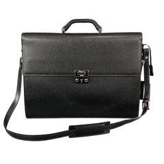 SALVATORE FERRAGAMO Black Textured Leather Briefcase / Bag