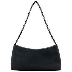 SALVATORE FERRAGAMO Black Twill Metal Woven Logo Chan Strap Handbag