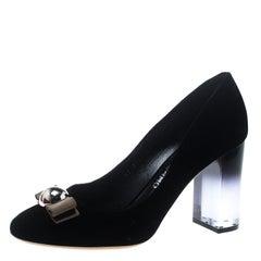 Salvatore Ferragamo Black Velvet Fiammetta Plexiglass Heel Pumps Size 40.5