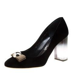 Salvatore Ferragamo Black Velvet Fiammetta Plexiglass Heel Pumps Size 41
