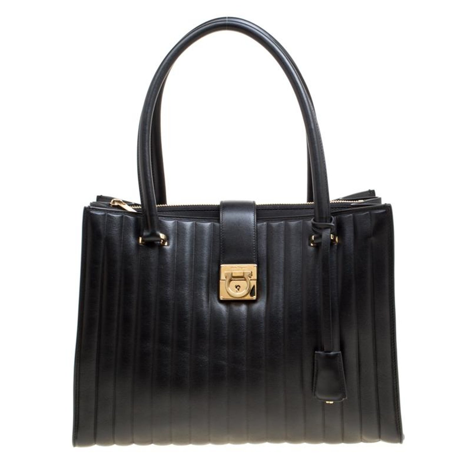 53ceccee57 Salvatore Ferragamo Black Vertical Quilted Leather Juliette Tote For Sale  at 1stdibs