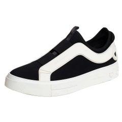 Salvatore Ferragamo Black/White Fabric And Rubber Answer Slip On Sneakers Size 4
