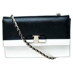 Salvatore Ferragamo Black/White Leather Ginny Shoulder Bag
