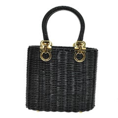 Salvatore Ferragamo Black Wicker Charm Evening Basket Top Handle Satchel Bag
