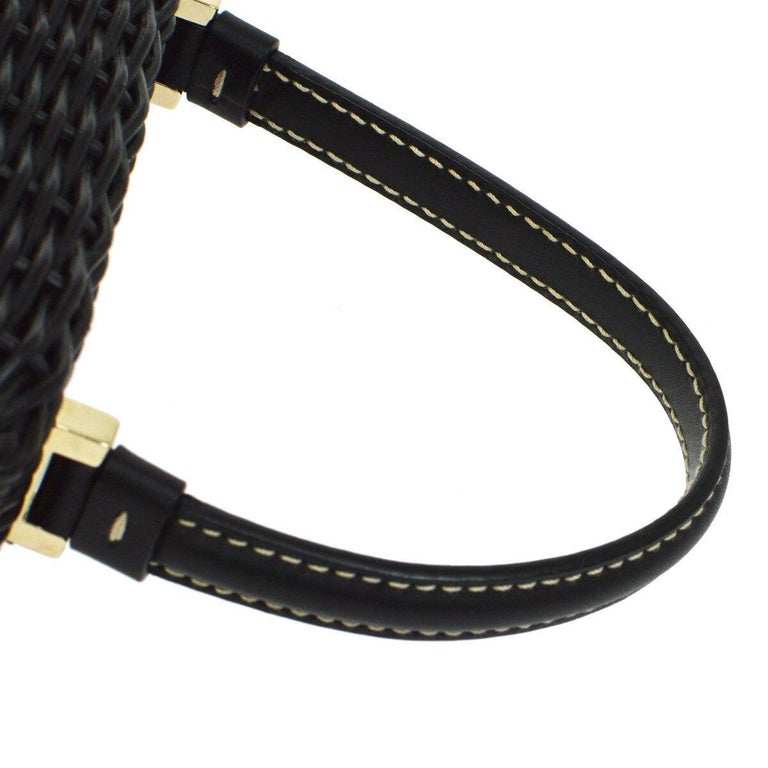 Salvatore Ferragamo Black Wicker Gold Top Handle Evening Satchel Kelly Bag in Box   Wicker Leather Gold tone hardware Turnlock closure Woven lining Handle drop 4