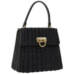 Salvatore Ferragamo Black Wicker Gold Top Handle Satchel Kelly Bag in Box