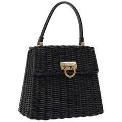 Salvatore Ferragamo Black Wicker Gold Top Handle Satchel Kelly Bag in Box