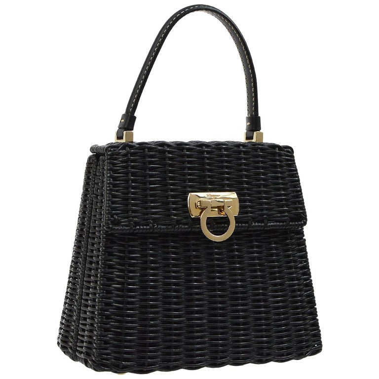 Salvatore Ferragamo Black Wicker Gold Top Handle Satchel Kelly Bag in Box  For Sale