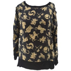 Salvatore Ferragamo black zodiac signs silk t-shirt