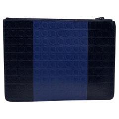 Salvatore Ferragamo Blue Black Gancini Leather Firenze Portfolio Bag
