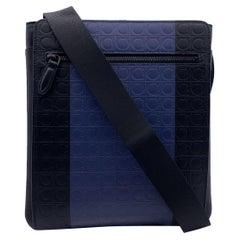 Salvatore Ferragamo Blue Black Gancini Leather Firenze Shoulder Bag