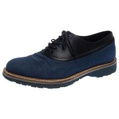Salvatore Ferragamo Blue Canvas And Black Leather Lace Up Oxfords Size 41