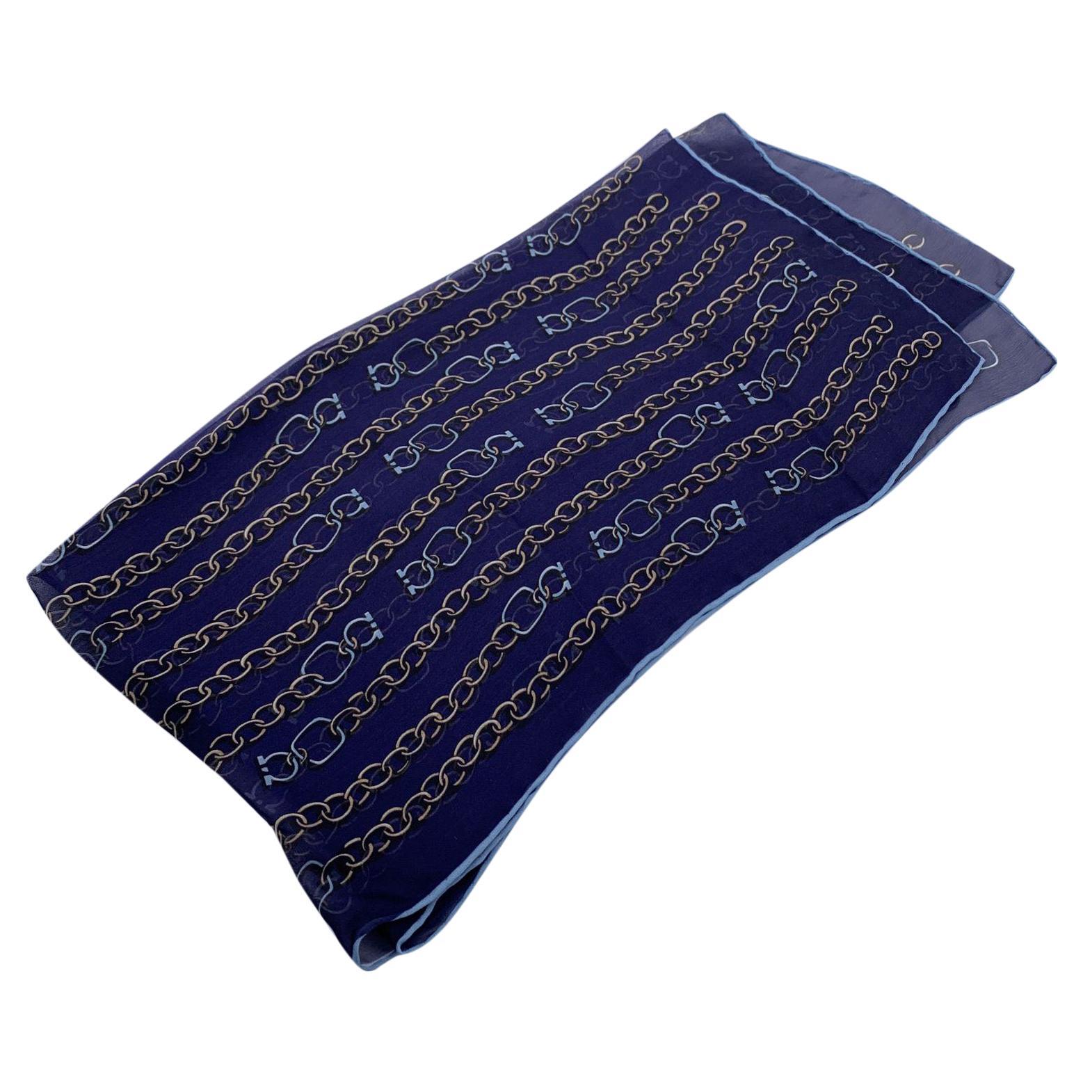 Salvatore Ferragamo Blue Chain Print Silk Stole Shawl Scarf