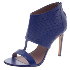 Salvatore Ferragamo Blue Embossed Leather Pacella Open-Toe Sandals Size 40