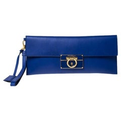 Salvatore Ferragamo Blue Leather Afef Gancio Clutch