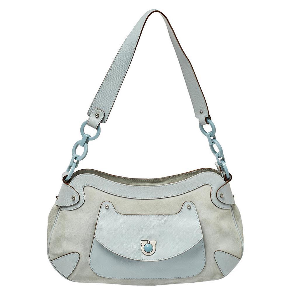 Salvatore Ferragamo Blue Leather and Suede Shoulder Bag