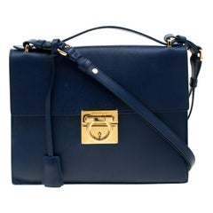 Salvatore Ferragamo Blue Leather Gancio Lock Shoulder Bag