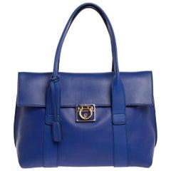 Salvatore Ferragamo Blue Leather Sookie Top Handle Bag